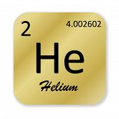 pic of helium  - Black helium element into golden square shape isolated in white background - JPG