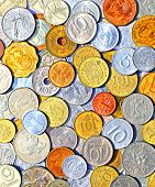 stock photo of copper coins  - Background of many metallic coins of different countries of the world - JPG