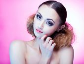 stock photo of ombre  - Face close up of beautiful young woman with professional party make up false eyelashes  - JPG