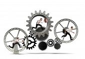 foto of mechanical engineering  - Business mechanism system with running business team - JPG