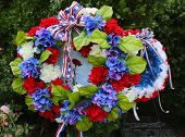 picture of tragic  - Wreath on Memorial Day at military memorial  - JPG