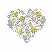picture of centerpiece  - Messy different colorful yellow gray flowers and hearts in heart shape on white background with little dots retro romantic botanical centerpiece illustration - JPG