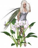 foto of faerie  - Fantasy illustration of a pretty blonde white Violet Fairy with spring violets - JPG