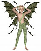 image of faerie  - Fantasy illustration of a fairy boy dressed in green leaves with green wings and blonde hair standing with his arms above his head - JPG