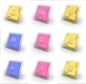 stock photo of palladium  - Set of isolated illustrations chemical element signs - JPG