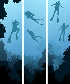 foto of spearfishing  - Set vertical banners of scuba divers under water among coral in cave - JPG