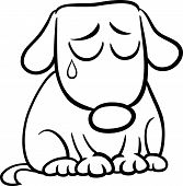 stock photo of emaciated  - Black and White Cartoon Illustration of Cute Sad Dog or Puppy for Coloring Book - JPG