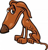 stock photo of emaciated  - Cartoon Illustration of Poor Sad Homeless Dog - JPG