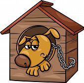 picture of emaciated  - Cartoon Illustration of Poor Sad Dog in the Kennel - JPG