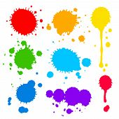 stock photo of paint spray  - Collection of splats  splashes and blobs of brightly colored paint in a rainbow palette in different shapes with two having running drips isolated on white - JPG