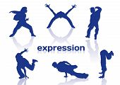 foto of break-dance  - Break dance silhouettes on white background - JPG