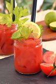 stock photo of bloody mary  - Bloody Mary cocktail drinks and fruit ingredients - JPG