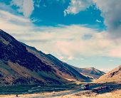 foto of manali-leh road  - Vintage retro effect filtered hipster style travel image of Indian lorry on Manali - JPG