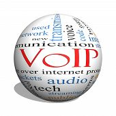 pic of voip  - VOIP 3D sphere Word Cloud Concept with great terms such as voice internet protocol and more - JPG