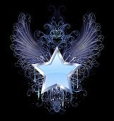 picture of blue angels  - blue silver star with angel wings outline decorated with a drop of blue paint and a fancy pattern - JPG