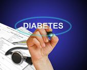 pic of diabetes symptoms  - writing word Diabetes with marker on gradient background made in 2d software - JPG