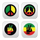 stock photo of rastaman  - Rastafarian peace symbols isolated buttons on white - JPG