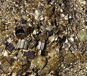 foto of pyrite  - The crystals of pyrite close-up in sunlight