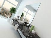 stock photo of wash-basin  - White bathroom interior with vanity and hand basin - JPG