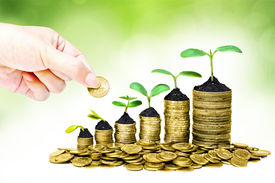 stock photo of sustainable development  - hand giving a golden coin to trees growing in a sequence of germination on piles of golden coins  - JPG