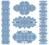 stock photo of adornment  - ornamental floral adornment of blue colour - JPG