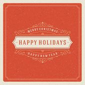 stock photo of christmas greetings  - Christmas retro typography and ornament decoration - JPG