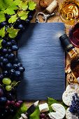 stock photo of wine grapes  - Food background with Wine - JPG
