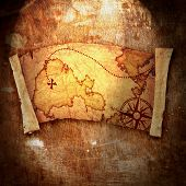picture of treasure map  - old treasure mapon grunge background  arty - JPG