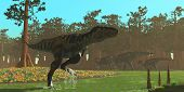 picture of carnivores  - Parasaurolophus dinosaurs head the other way as a Bistahieversor carnivore splashes through a swampy area - JPG