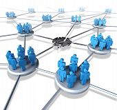 stock photo of social system  - Team network problems as a connected business group of people with a broken link and system failure concept representing loss of social media popularity by losing followers or communication crisis on the internet - JPG