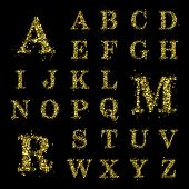 stock photo of glitz  - Sparkling font on black background - JPG
