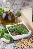 image of pesto sauce  - Basil pesto sauce and fresh ingredient - JPG