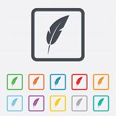 pic of light weight  - Feather sign icon - JPG