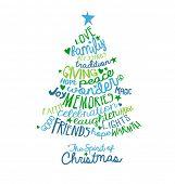 image of text cloud  - Christmas Card Word Cloud tree design - JPG
