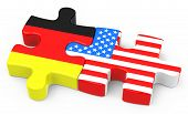 picture of free-trade  - 3d generated picture of a free trade agreement between germany and usa - JPG