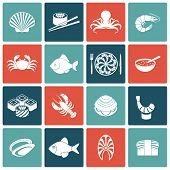 stock photo of crawfish  - Seafood fish menu restaurant icons set flat with rolls crawfish clam prawn isolated vector illustration - JPG