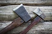 stock photo of ax  - There are two ax hatchet head with an ax - JPG