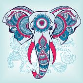 foto of decorative  - Vector Indian Decorative Elephant on the Henna Indian Ornaments - JPG