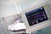 picture of cpr  - A medical Monitor against the hospital room - JPG