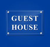 image of guest-house  - illustration of guest house transparent sign on blue background - JPG