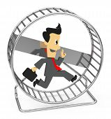 stock photo of hamster  - 3d generated picture of a hamster wheel and a running businessman - JPG