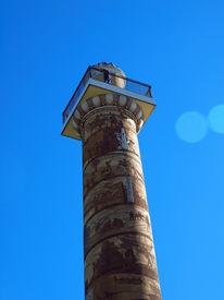 stock photo of coxcomb  - The Astoria Column Depicting the Histrory of the Region in Astoria Oregon USA - JPG