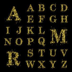 foto of glitter sparkle  - Sparkling font on black background - JPG