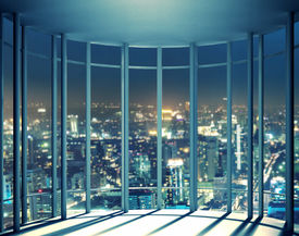 picture of high-rise  - Night view of buildings from high rise window - JPG