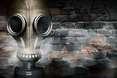 stock photo of rubber mask  - Gas mask shrouded in smoke - JPG