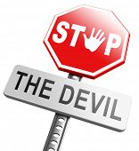 image of satan  - stop the devil or satan no sinning - JPG
