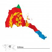 foto of eritrea  - Map of Eritrea with flag  - JPG
