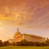 stock photo of capitol building  - Capitol building Washington DC sunset at US congress USA - JPG