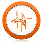 stock photo of windmills  - windmill orange icon renewable energy sign  - JPG