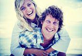 foto of bonding  - Couple Beach Bonding Getaway Romance Holiday Concept - JPG